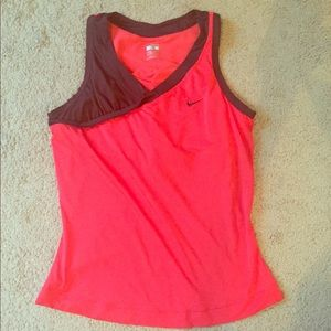 Nike red and maroon workout top with built in bra